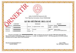 avcı egitimi sertifika ornegi